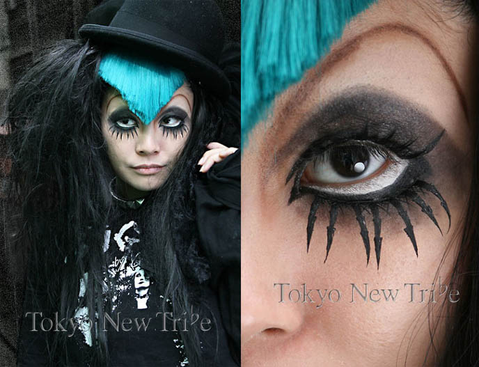 Long bottom eyelashes, fake doll lashes, anime contact lenses, dramatic 1920s Hollywood makeup, Tokyo Visual Gothic style tribe, Japanese goth club fashion, street fashion snaps in Tokyo, cool Goth makeup, harajuku fake nails and contacts