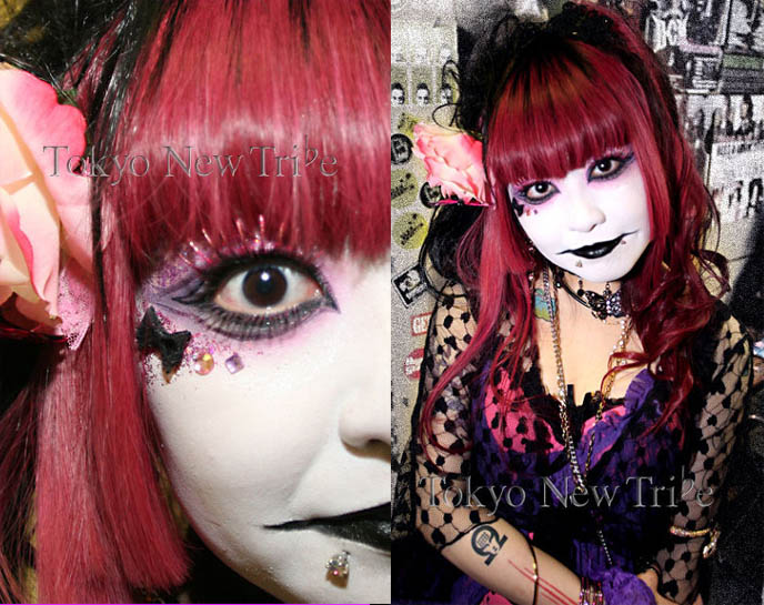 Visual Kei makeup tutorial, how to do Visual Kei and Gothic Lolita eyeshadow, stickers on face, lipstick techniques. Theatrical nightclub makeup, experimental avantgarde creative inspiration photos, Tokyo Visual Gothic style tribe, Japanese goth club fashion, street fashion snaps in Tokyo, fairy girl fantasy cosplay outfit